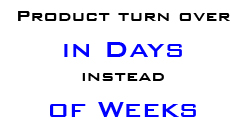 Product turn over in days instead of weeks